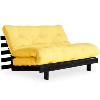 Sofa extensibila Roots Black & Yellow 140x200 cm
