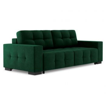 Canapea extensibila 3 locuri Alto Velvet Bottle Green and Wenge Brown