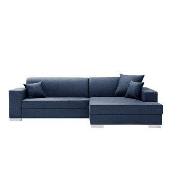 Canapea cu șezlong partea dreaptă Interieur De Famille Paris Perle, albastru închis fixa