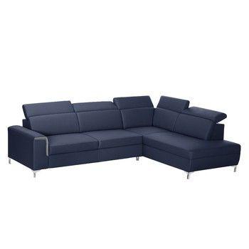 Canapea Modernist Serafino cu extensie pe partea dreaptă, albastru fixa