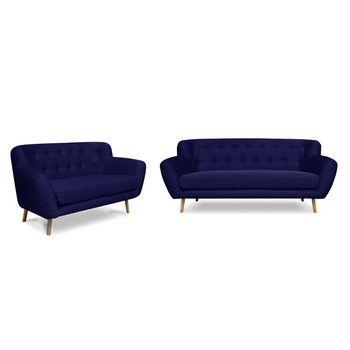 Set 2 canapele pentru 2 și 3 persoane Cosmopolitan design London, albastru închis fixa