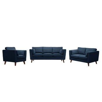 Set fotoliu și 2 canapele pentru 2 și 3 persoane Jalouse Maison Elisa, albastru denim fixa
