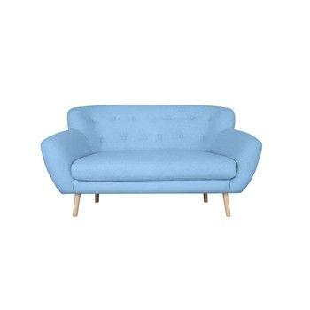 Canapea cu 2 locuri Kooko Home Pop, albastru deschis fixa