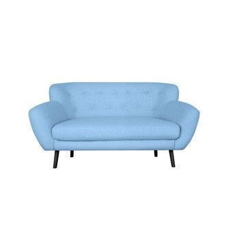 Canapea cu 2 locuri Kooko Home Rock, albastru deschis fixa