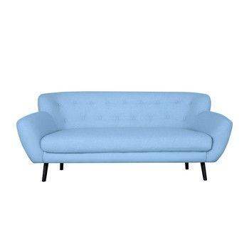 Canapea cu 3 locuri Kooko Home Rock, albastru deschis fixa