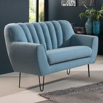 Canapea pentru 2 persoane Sinkro Shell, albastru fixa