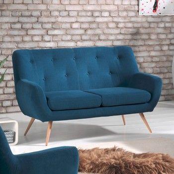 Canapea pentru 2 persoane Sinkro Sofia, albastru fixa