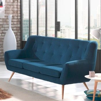 Canapea pentru 3 persoane Sinkro Sofia, albastru fixa