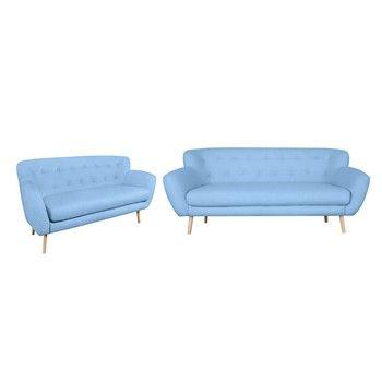 Set 2 canapele cu 2 și 3 locuri Kooko Home Pop, albastru deschis fixa