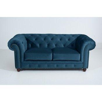 Canapea cu 2 locuri Max Winzer Orleans Velvet, albastru fixa