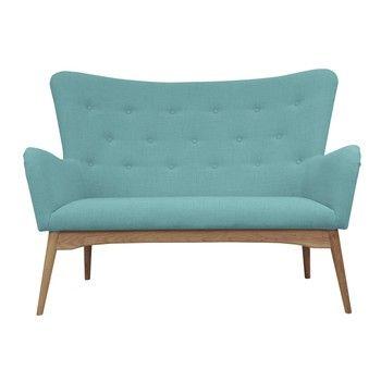 Canapea cu 2 locuri Scandizen Alicia, albastru deschis fixa