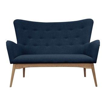 Canapea cu 2 locuri Scandizen Alicia, albastru închis fixa