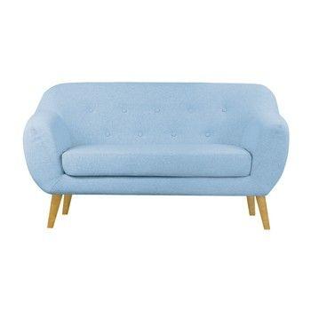 Canapea cu 2 locuri Scandizen Lola, cu picioare maro, albastru fixa