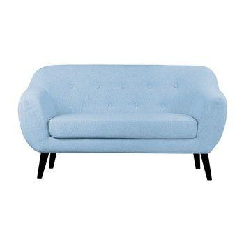 Canapea cu 2 locuri Scandizen Lola, cu picioare negre, albastru fixa