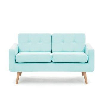 Canapea cu 2 locuri Vivonita Ina, albastru pastel fixa