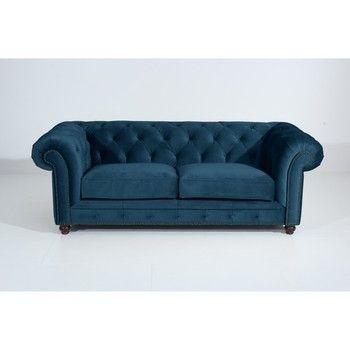 Canapea cu 3 locuri Max Winzer Orleans Velvet, albastru fixa