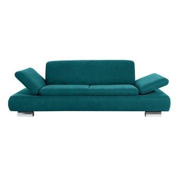 Canapea cu 3 locuri Max Winzer Terrence Anderson, cotiere ajustabile, albastru petrol fixa