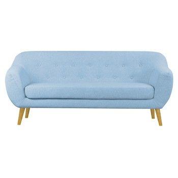 Canapea cu 3 locuri Scandizen Lola, cu picioare maro, albastru fixa