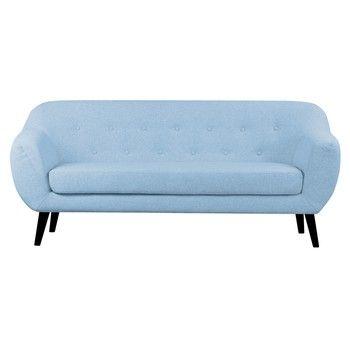 Canapea cu 3 locuri Scandizen Lola, cu picioare negre, albastru fixa