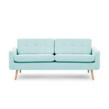 Canapea cu 3 locuri Vivonita Ina, albastru pastel fixa