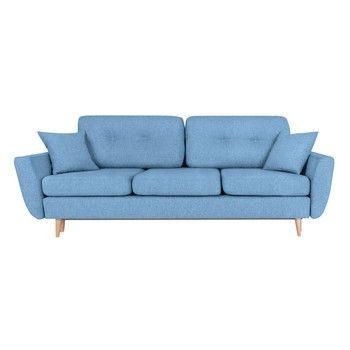 Canapea extensibilă cu 3 locuri Scandizen Rita, albastru deschis fixa