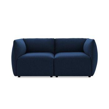 Canapea modulară cu 2 locuri Vivonita Cube, albastru închis fixa