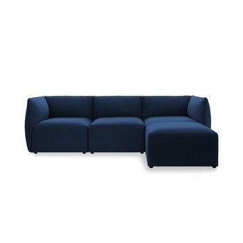 Canapea modulară cu 3 locuri și suport pentru picioare Vivonita Cube, albastru închis fixa