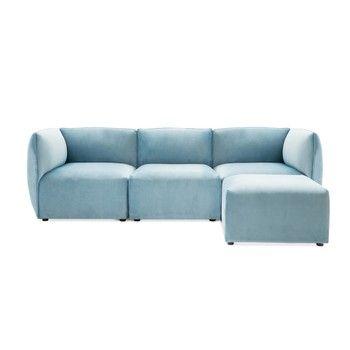 Canapea modulară cu 3 locuri și suport pentru picioare Vivonita Velvet Cube, albastru deschis fixa