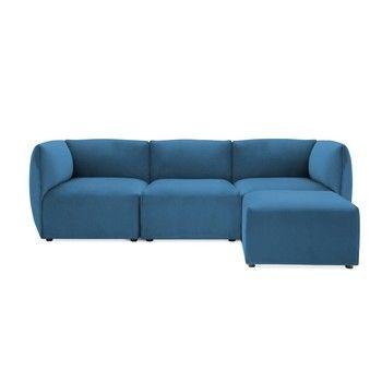 Canapea modulară cu 3 locuri și suport pentru picioare Vivonita Velvet Cube, albastru fixa