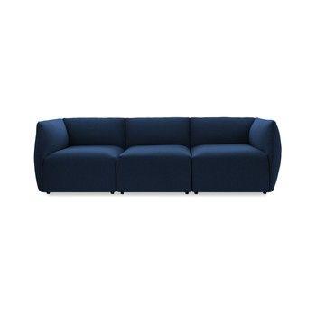 Canapea modulară cu 3 locuri Vivonita Cube, albastru închis fixa