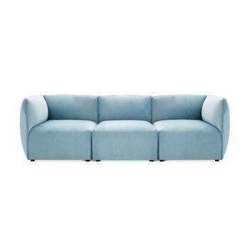Canapea modulară cu 3 locuri Vivonita Velvet Cube, albastru deschis fixa