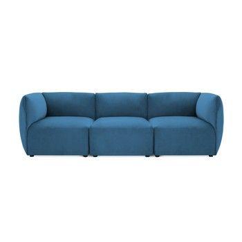 Canapea modulară cu 3 locuri Vivonita Velvet Cube, albastru fixa