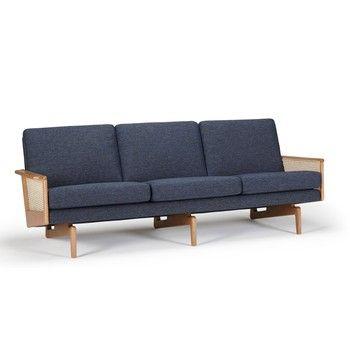 Canapea cu 3 locuri Kragelund Egsmark, albastru fixa