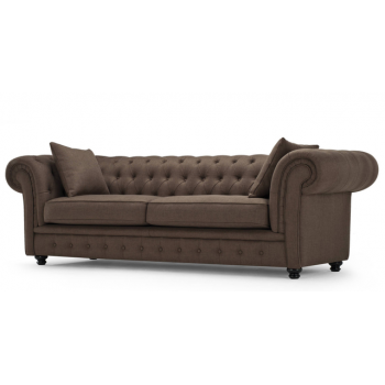 Canapea fixa tapitata cu stofa, 3 locuri Chesterfield All Brown, l216xA95xH76 cm